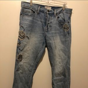 Current/Elliot Crossover Embroidered Jeans 29